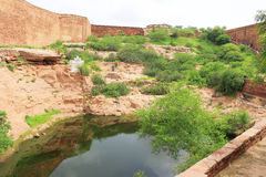 Magical Mehrangarh Fort, Jodhpur, Rajasthan,india. Fort walls and lake on this magical magnificent and huge fort contains seven gates, the main ones are Jayapol royalty free stock photo