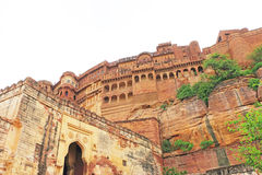 Magical Mehrangarh Fort, Jodhpur, Rajasthan,india. Fort walls on this magical magnificent and huge fort contains seven gates, the main ones are Jayapol and built stock image