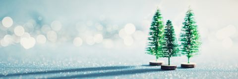 Magical miniature winter wonderland banner. Evergreen christmas trees on shiny blue background.