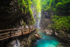 Free Magical Misty Vintgar Gorge And Radovna River After Rain, Slovenia Stock Photos - 213875663