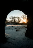 Magical morning. Sun in arch. Castle in Dobele. medieval architecture. castle ruins Stock Photography