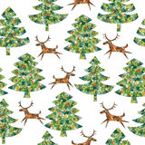 Magical Mosaic Christmas Trees Forest with Reindeer. Seamless pattern (repetitive) background with grunge texture. Objects are  in a group (only in  version) Royalty Free Stock Photo