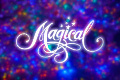 Magical. My own calligraphy on mini lights background Stock Photography