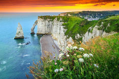Magical natural rock arch wonder,Etretat,Normandy,France Royalty Free Stock Photos