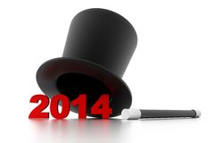 Magical new year 2014. 3d illustration of Magical new year 2014 Royalty Free Stock Photos