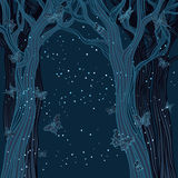 Magical night background with trees Stock Photos