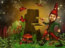 Magical night and dwarf. Illustration of a dreamyland and dwarf Royalty Free Stock Images