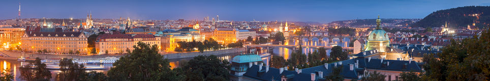 Magical night illuminations of Prague Stock Photo