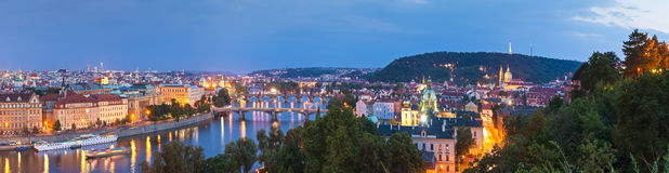 Magical night illuminations of Prague Royalty Free Stock Image