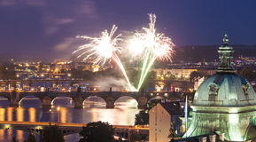Magical night illuminations of Prague Stock Image