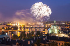 Magical night illuminations of Prague Royalty Free Stock Photos