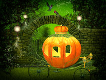 Magical  night, pumpkin carriage Stock Images