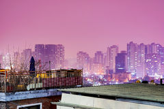 Magical night scene of Seoul with pink colored sky Royalty Free Stock Images