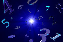 Magical numbers (numerology). A lot of numbers on a beautiful art background Royalty Free Stock Photo