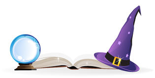 Magical objects. Witch hat, spell book and a magic ball on a white background Stock Image