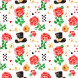 Magical pattern with lovely roses,playing cards,hat,old clock and golden keys Stock Image