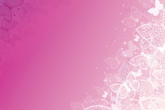 Magical pink butterflies horizontal background Stock Photo