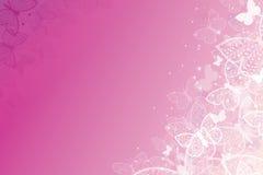 Magical pink butterflies horizontal background Stock Photo