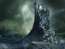 Magical portal on the top of a high mountain. Dark scenery with magical portal and mountain Stock Photography