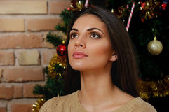 Magical portrait of attractive woman in new years eve on the chr Stock Photo