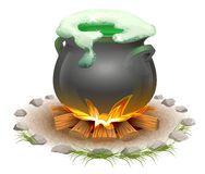 Magical potion brewed in pot. Magic ale St Patricks Day. Full pot on fire Royalty Free Stock Images