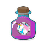 Magical potion from horn of unicorn. Magic drink. Fantastic very Royalty Free Stock Photography