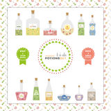 Magical potion set. Collection of colorful bottle with potion.  Royalty Free Stock Photography