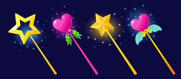 The magical power of a magic wand. Tricks, wishes and witchcraft. Vector illustration.Set isolated on a dark background.Game icon.Design for app user interface Royalty Free Stock Photography
