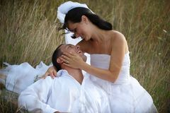 Magical and pure feeling of love between newlyweds Royalty Free Stock Photos