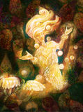 Magical radiant fairy spirit in forest dwelling making floating lights Royalty Free Stock Images