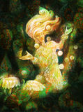 Magical radiant fairy spirit in forest dwelling making floating lights Stock Images