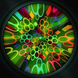 Magical rainbow colored circle shape on black background, psychedelic  decoration for entertainment business such as discotheque, Stock Photography