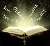 The magical rays of bible Stock Image
