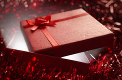 Magical red Christmas gift box Stock Images