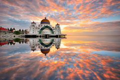 The magical reflections. Beautif full reflections of Malacca Straits Mosque during sunrise Royalty Free Stock Photo