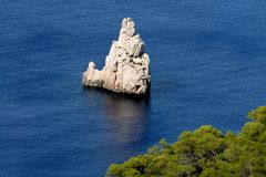 Magical Rock Beniras, Ibiza. The magical Rock of Beniras, called the finger of God. Ibiza,Spain,Europe Royalty Free Stock Image
