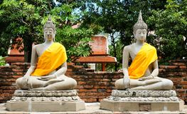 Magical of sandstone buddha The attitude of meditation Royalty Free Stock Photos