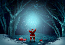 Magical Santa Claus Background. As a jolly Christmas symbol spreading magic sparkles in a winter forest celebration with snow and copy space with 3D Royalty Free Stock Images