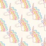 Magical seamless pattern with pink unicorn. Stock Photo