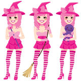 Magical Sexy Pink Witch Stock Photography