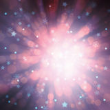 Magical shiny radial blurred Xmas bokeh abstract background Royalty Free Stock Images
