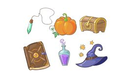 Magical signs set, Halloween symbols, potion bottle, magic crystal, pumpkin, wizard hat, magic book vector Illustration stock illustration