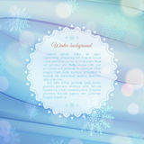 Magical snowflake background with frame for text Stock Photo
