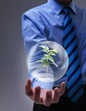 Magical solution to the environmental issue. Businessman presenting magical solution to the environmental issue Stock Photo