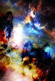 Magical space wolf, multicolor computer graphic collage. Royalty Free Stock Photography