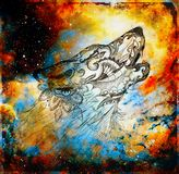Magical space wolf, multicolor computer graphic collage.  royalty free stock image