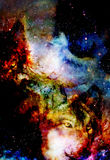 Magical space wolf, multicolor computer graphic collage. Space fire. Magical space wolf, multicolor computer graphic collage. Space fire Royalty Free Stock Photos