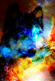 Magical space wolf, multicolor computer graphic collage. Space fire. Magical space wolf, multicolor computer graphic collage. Space fire Royalty Free Stock Image