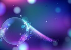 Magical stars fantasy blurry bubbles air blinking Bokeh abstract background, comets sparkle traveling violet galaxy and space royalty free illustration