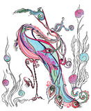 Magical stork, swallow fish. Fantastic illustration of a beautiful bird, swallowed the fish Stock Photo